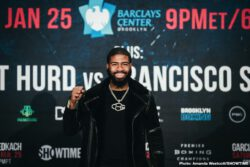 """Danny Garcia, Francisco Santana, Ivan Redkach, Jarrett Hurd - Two-division world champion Danny """"Swift"""" Garcia and hard-hitting Ivan """"El Terrible"""" Redkach went face to face for the first time at a press conference on Wednesday as they previewed their WBC Welterweight Title Eliminator headlining action live on SHOWTIME Saturday, January 25 from Barclays Center, the home of BROOKLYN BOXING™, in a Premier Boxing Champions event."""