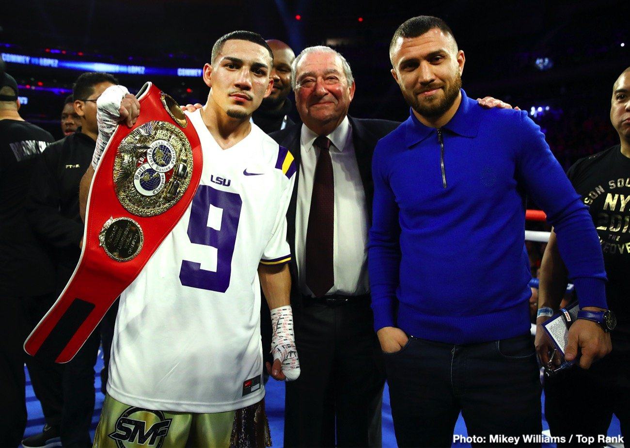 Teofimo Lopez, Vasily Lomachenko - IBF lightweight champion Teofimo Lopez (15-0, 12 KOs) and WBA/WBC/WBO champ Vasiliy Lomachenko will fight for the undisputed 135-lb championship in September on ESPN pay-per-view, according to their promoter Bob Arum of Top Rank. The two champions have decided to take the fight with or without fans, possibly Las Vegas Nevada.