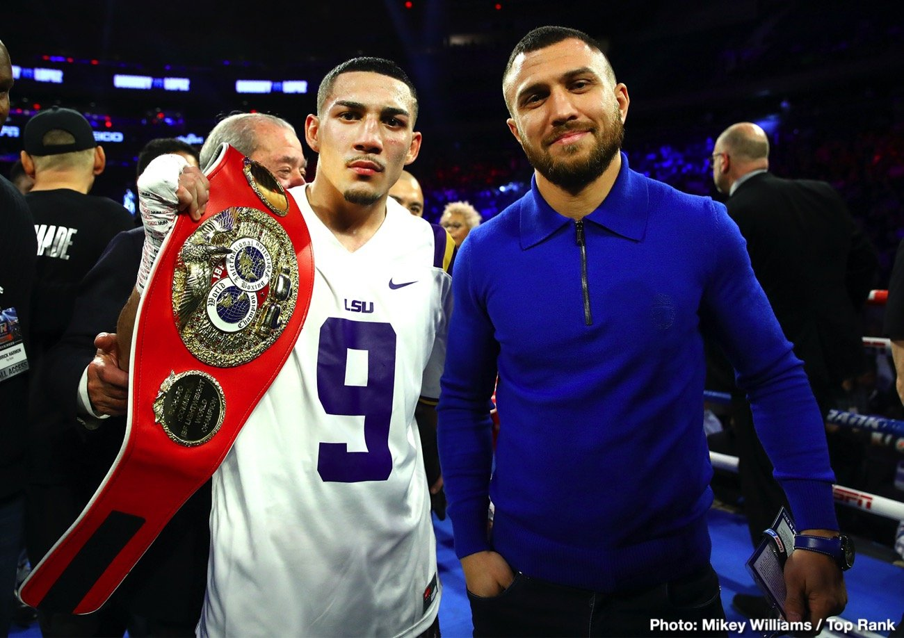"Teofimo Lopez, Vasiliy Lomachenko - Unified lightweight world champion Vasiliy Lomachenko is riding out the COVID-19 pandemic in his native Ukraine, but the three-weight kingpin is chomping at the bit to get his hands on the division's leading names, including IBF world champion Teofimo Lopez, WBC world champion Devin Haney and Gervonta ""Tank"" Davis."