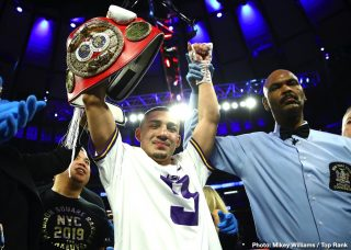 Top Rank Boxing - IBF lightweight champion Teofimo Lopez jumped ahead of his promoters at Top Rank by hinting that his unification fight against WBA/WBC /WBO champion Vasily Lomachenko will be on May 30 in New York. Teofimo added the fight could be on pay-per-view.