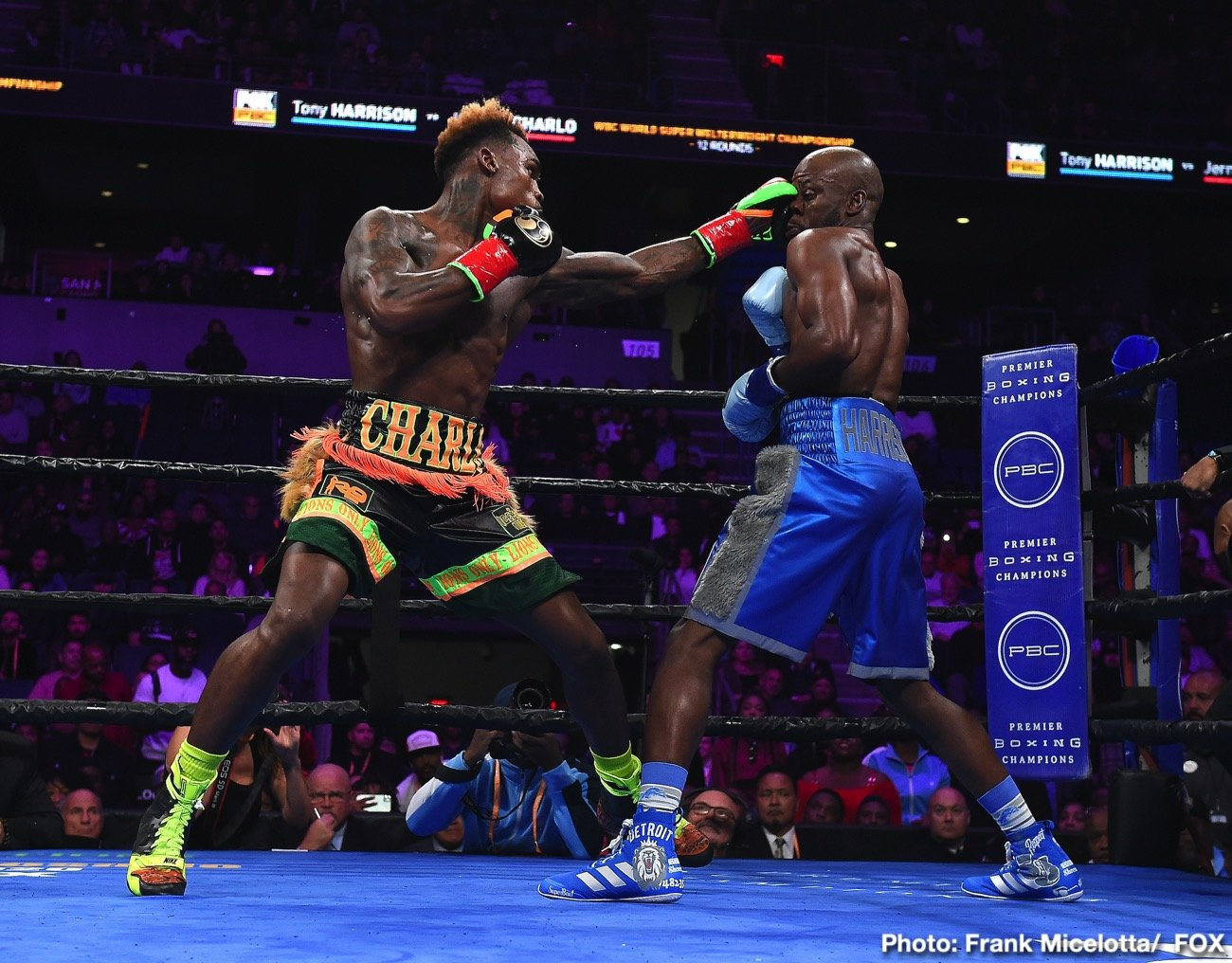 Tony Harrison - WBC junior middleweight champion Tony Harrison's chin betrayed him in the 11th round with Jermell Charlo (33-1, 17 KOs) stopping him in a come from behind victory in their rematch on Saturday night at the Toyota Arena in Ontario, California.