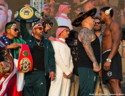 Alexander Povetkin, Andy Ruiz, Anthony Joshua, Dillian Whyte, Filip Hrgovic - Watched by millions of fans, heavyweight stars Andy Ruiz and Anthony Joshua officially weighed-in moments ago in Saudi Arabia. The big, as in BIG, talking point after the weigh-in was the heavy, as in really heavy, weight defending champ Ruiz tipped-in at - 283.7 pounds. Joshua came in light, as in quite surprisingly light - 237 pounds.