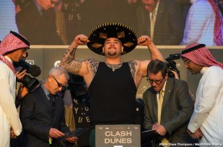Andy Ruiz - Like everyone else, heavyweight living legend George Foreman has an opinion on the whopping great poundage heavyweight ruler Andy Ruiz tipped-in at at yesterday's official weigh-in in Saudi Arabia. Some people feel Ruiz' weight of a little over 283 pounds, some 15 pounds more than he weighed back on June 1 when he shocked Anthony Joshua by seventh-round stoppage win, doesn't mean all that much, that the Mexican/American is a big guy anyway.