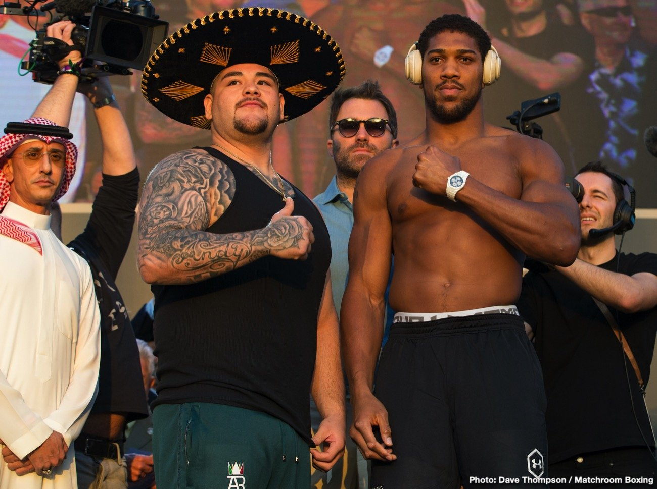 Andy Ruiz, Anthony Joshua - The biggest fight of the year is now just over 24 hours away. Ahead of tomorrow's much-anticipated rematch between Andy Ruiz, Jr. and Anthony Joshua OBE, both fighters tipped the scales in front of a raucous crowd in Saudi Arabia. At 283.7 pounds, Ruiz came in at his heaviest weight in many years and 15 pounds heavier than he was for the first fight in June. Meanwhile, Joshua came in at 237.8 pounds, which is 10 pounds lighter than he was in June and the lightest he has been for any fight since 2014.