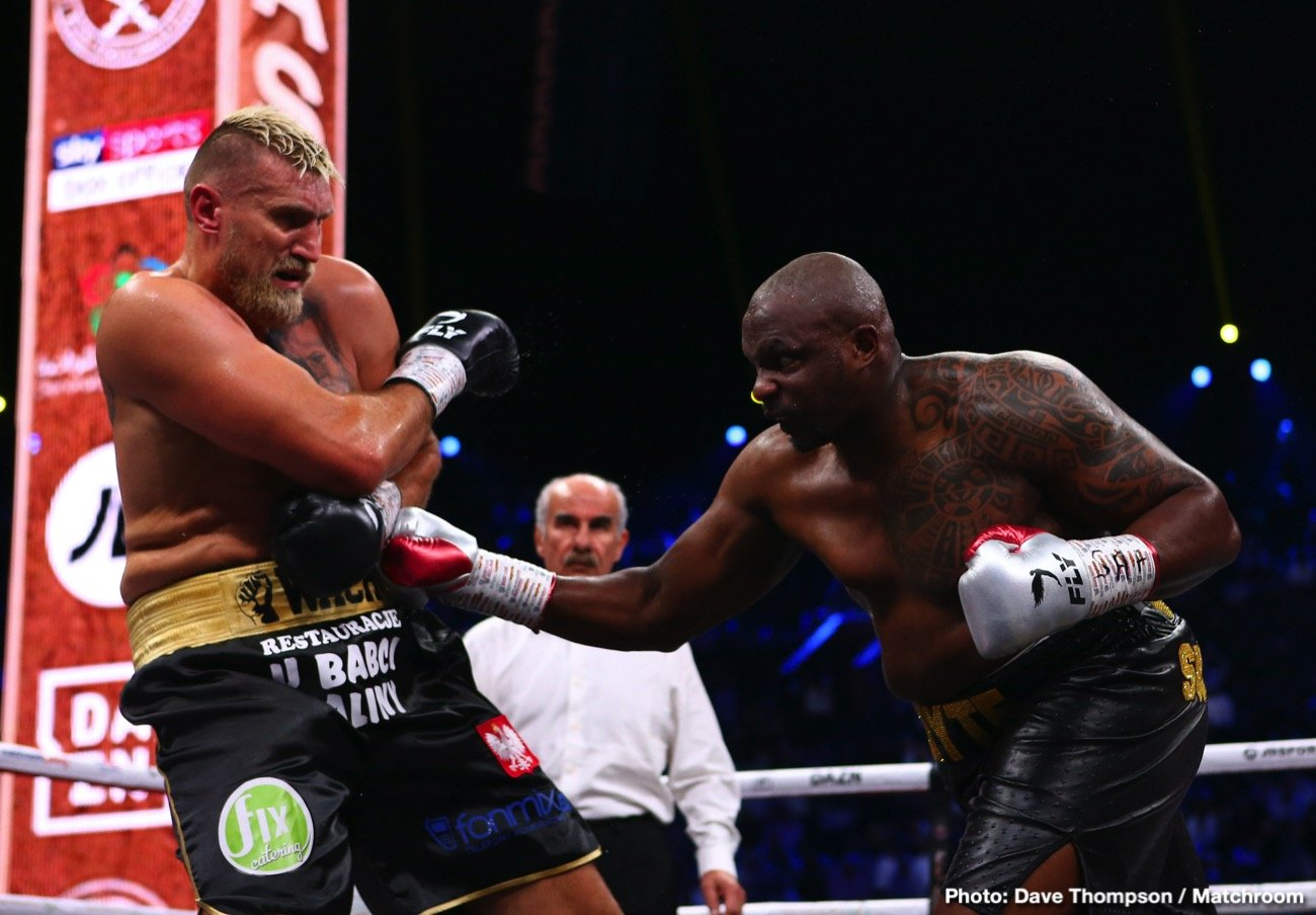 Alexander Povetkin, Anthony Joshua, Dillian Whyte - Anthony Joshua got Dillian Whyte agitated after threatening to sock him during his fight against Alexander Povetkin on August 22 at the Fight Camp at the Matchroom Boxing's Brentwood, Essex, UK.