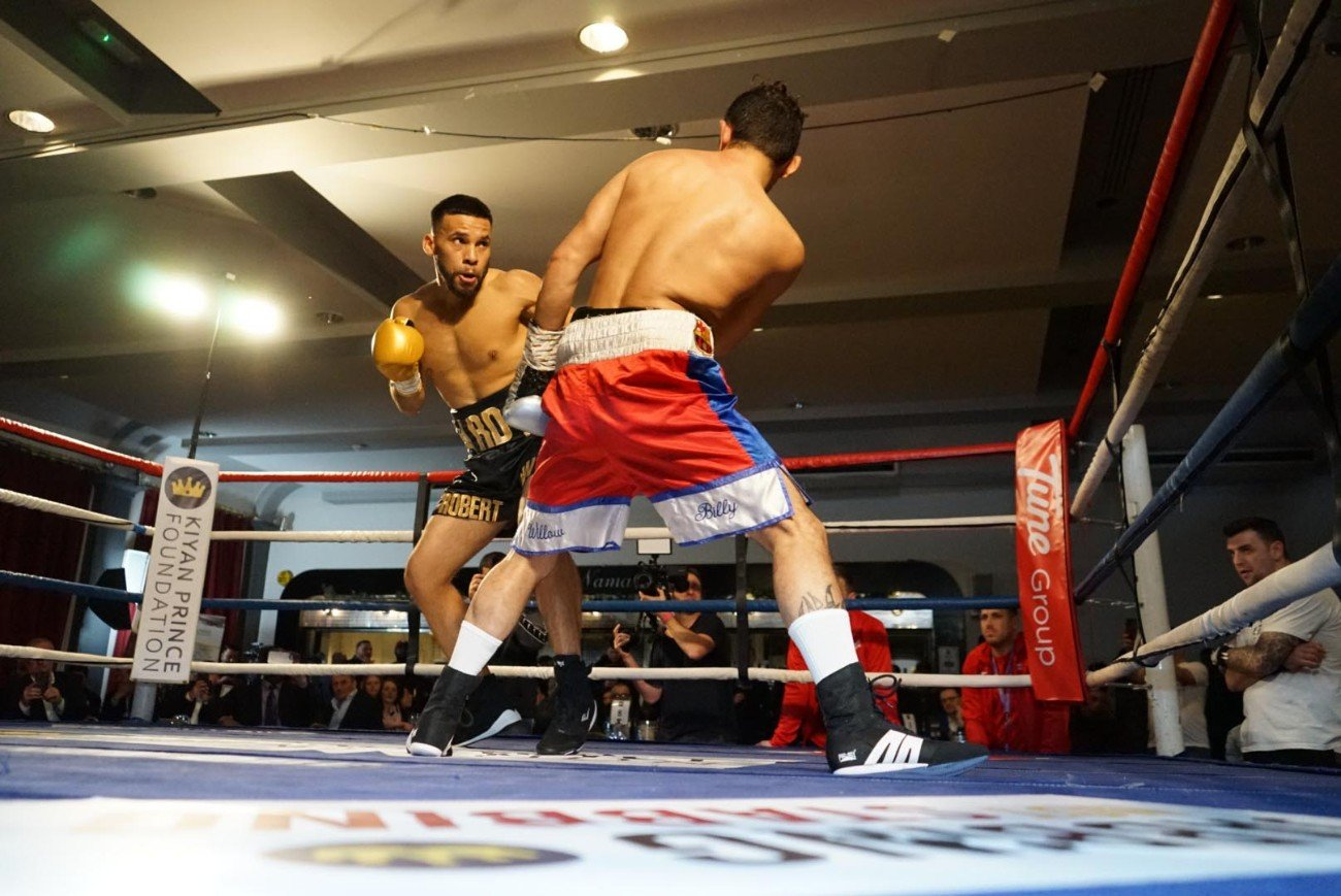 Juan Carlos Santana, Robert Duran - Robert Duran Jr., son of legendary four division World Champion Roberto Duran, made a successful UK debut on Saturday night, when he fought Nicaragua's Juan Carlos Santana on the former WBO and IBF Intercontinental Champion Dr Mark Prince OBE's 'Jabbing Not Stabbing' Charity event, to raise funds for the Kiyan Prince Foundation (KPF) www.thekpf.com at the London Irish Centre in Camden, London.