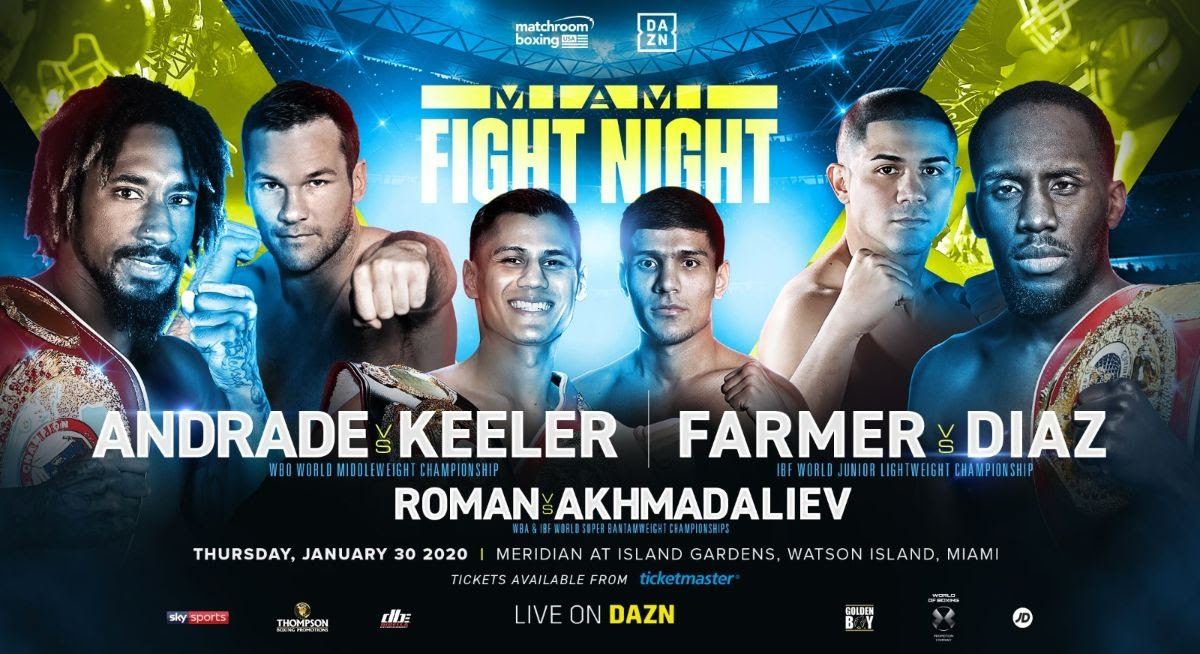 Daniel Roman, Demetrius Andrade, Joseph Diaz, Luke Keeler, Murodjon Akhmadaliev, Tevin Farmer - Undefeated Middleweight star Demetrius Andrade (28-0, 17 KOs) will defend his WBO World Middleweight Championship against contender Luke Keeler (17-2-1, 5 KOs) at Meridian at Island Gardens in Miami on Thursday January 30, live on DAZN in the US and Sky Sports in the UK.