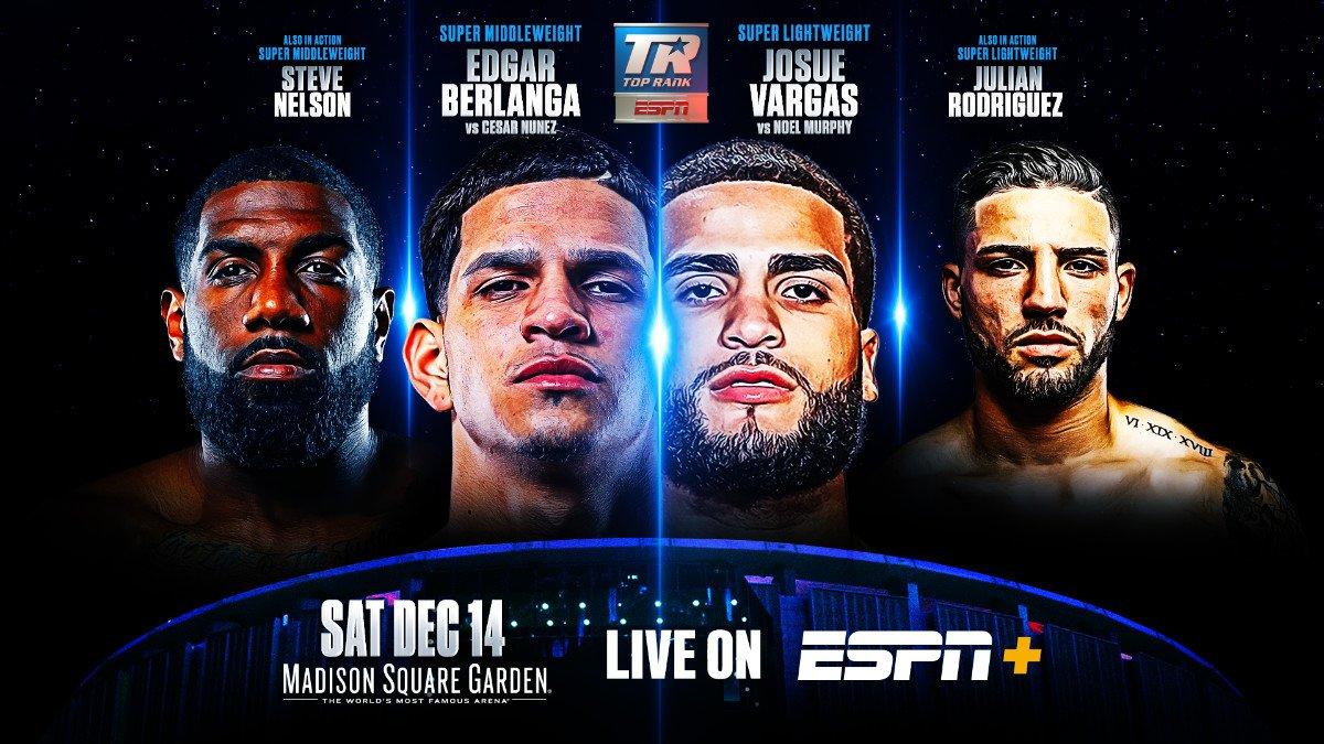 Edgar Berlanga, Egidijus Kavaliauskas, Josue Vargas, Terence Crawford - Undercard stream to begin at 5:30 p.m ET/2:30 p.m. PT