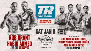 "Joe Smith - Rob ""Bravo"" Brant's quest to regain a world title will begin on the Boardwalk. Brant, a former middleweight world champion, will make his ring return against former super middleweight world title challenger Habib ""Wild Hurricane"" Ahmed Saturday, Jan 11 as the co-feature to the Jesse Hart-Joe Smith Jr. main event at Hard Rock Live at Etess Arena (ESPN & streaming on the ESPN App (Spanish), 10 p.m. ET/7 p.m. PT)."