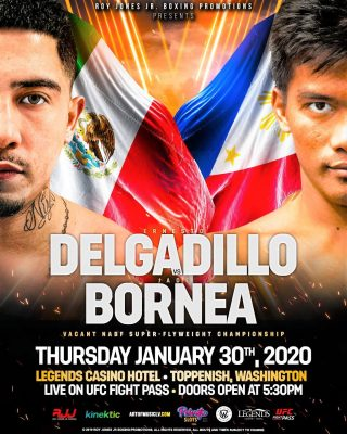 Ernesto Delgadillo - Three days prior to Super Bowl LIV, Roy Jones Jr. (RJJ) Boxing Promotions, in association with Sanman Boxing, will present its first RJJ Boxing on UFC FIGHT PASS® event of 2020, Thursday night, January 30, at Legends Casino and Hotel in Toppenish, Washington.
