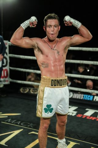 Paddy Donovan - Paddy 'The Real Deal' Donovan pulled off a 'Christmas Cracker' last night at the University of Bolton Stadium, Bolton in the UK on an MTK promotion with a 3rd round KO win against the tough and durable Nicaraguan fighter, Oscar Amador in their welterweight encounter.