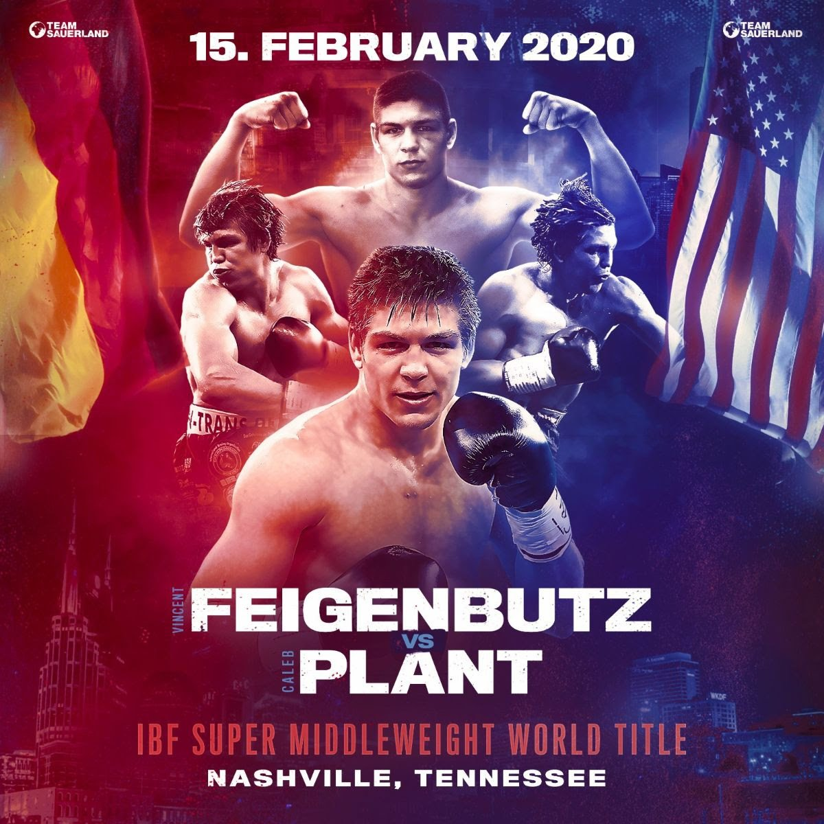 Caleb Plant - Team Sauerland's 24-year-old super middleweight Vincent 'KO King' Feigenbutz (31-2, 28 KOs) will face the USA's undefeated Caleb Plant (19-0, 11 KOs) for the IBF World Super Middleweight title on February 15th at the Bridgestone Arena in Nashville, Tennessee.