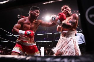 """Badou Jack, Gervonta Davis, Jean Pascal, Yuriorkis Gamboa - Undefeated two-time super featherweight world champion Gervonta """"Tank"""" Davis (23-0, 22 KOs) successfully moved up to 135 pounds and won the WBA Lightweight Title with a 12th round knockout of former unified champion Yuriorkis Gamboa (30-3, 18 KOs) Saturday night live on SHOWTIME in front of 14,129 fans from the award-winning State Farm Arena in Atlanta."""