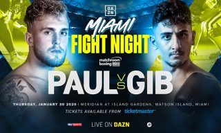 "Jake Paul - The rumored grudge match between YouTube stars Jake ""The Problem Child"" Paul and AnEsonGib is finally official and will take center stage as the co-main event of a huge night of boxing on Thursday January 30 at the Meridian at Island Gardens in Miami, and streamed live exclusively on DAZN in the United States and on Sky Sports in the UK."