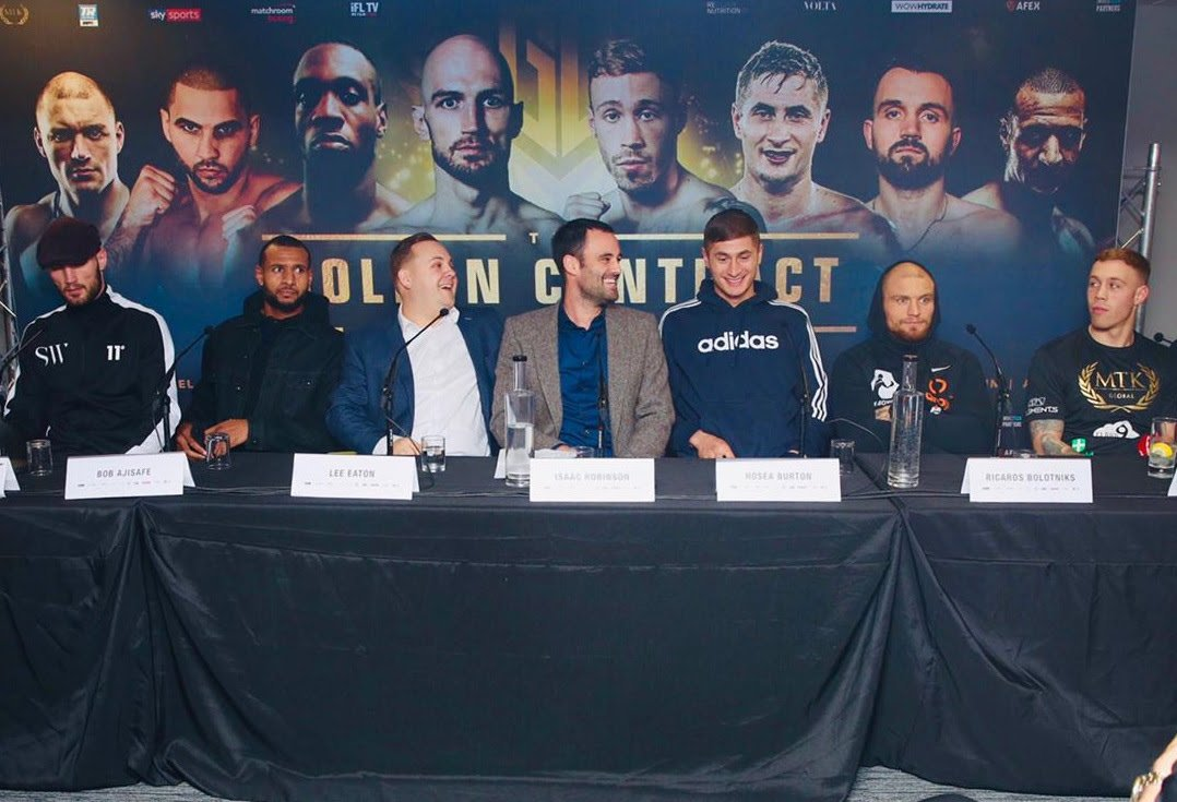 Andre Sterling Bob Ajisafe Hosea Burton Liam Conroy Ricards Bolotniks Serge Miche Steven Ward Tommy Philbin British Boxing Press Room