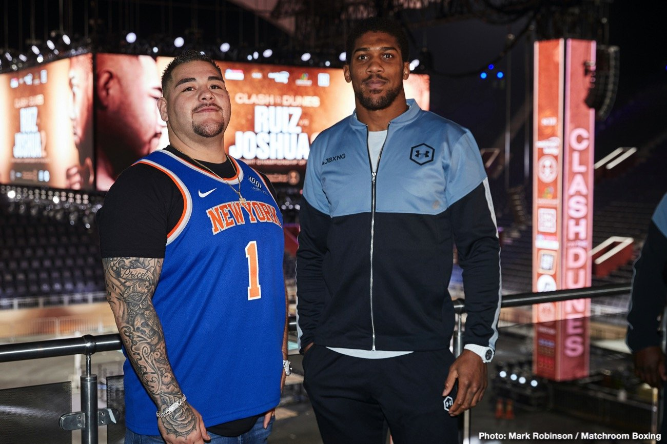 Andy Ruiz, Anthony Joshua - This Saturday night live on DAZN in America the most anticipated event takes place in Saudi Arabia, a rematch between Anthony Joshua and Andy Ruiz Jr. The first meeting was an unforeseen outcome marking one of the biggest upsets in heavyweight history. So many questions surround this second go round on both sides of the fence. Was Andy's left hook and follow up attack just a random fluke like Joshua and many others claim? Can Anthony Joshua's defense hold up 12 rounds? Will a full camp be enough of difference for Andy? Will the weight loss help Joshua and can he fight a more discipline style? All or most of these questions will get answered come Saturday in the main event.