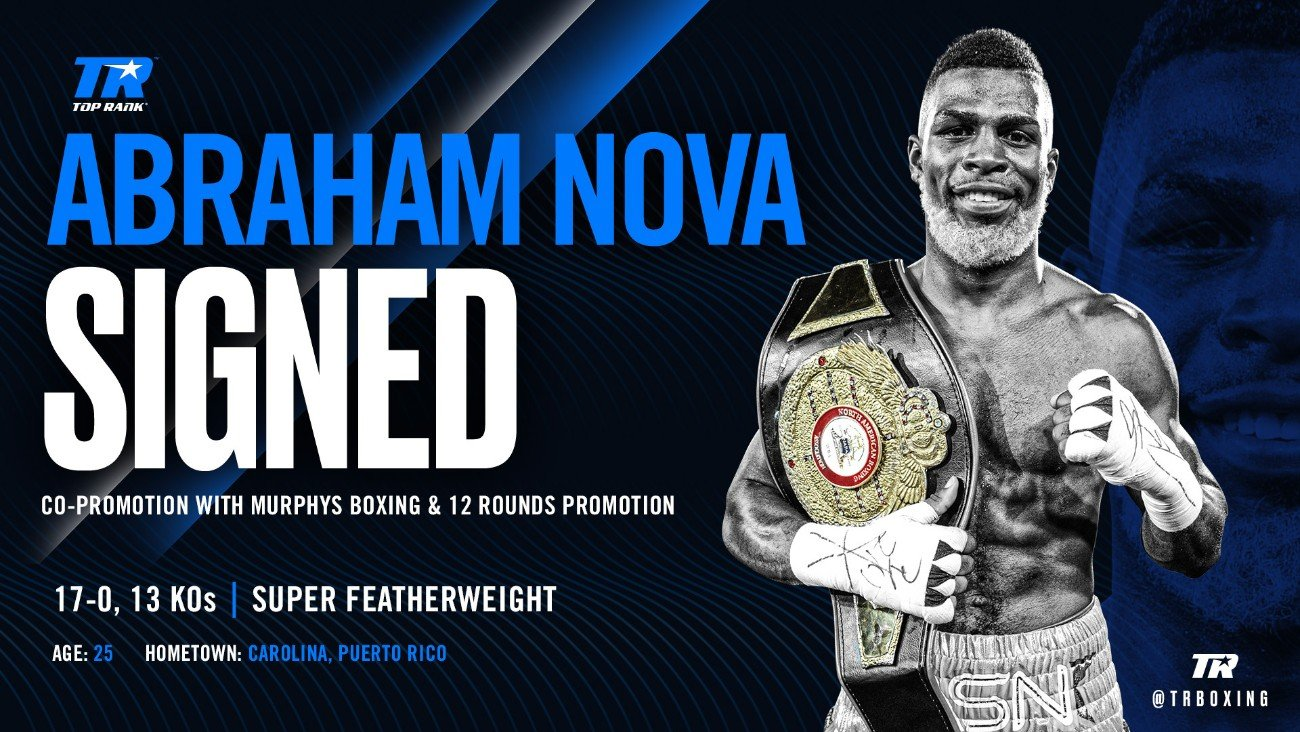 """Abraham Nova - Abraham """"El Super"""" Nova, the undefeated Puerto Rican-born 130-pound contender with the signature bleached blond beard, has signed a multi-fight promotional agreement with Top Rank."""
