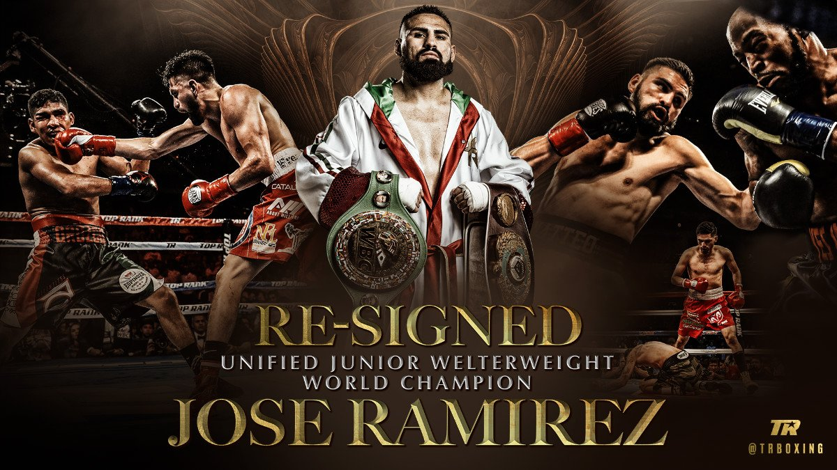 Unified junior welterweight world champion Jose Ramirez, the undefeated pride of California's Central Valley, today announced he has signed a new multi-year deal with Top Rank. Ramirez turned pro with Top Rank after representing the United States at the 2012 London Olympics.
