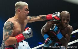 "Joseph Diaz, Tevin Farmer - If at first you don't succeed, try, try, try again. In his third attempt at a world title, Joseph ""JoJo"" Diaz Jr. (31-1, 15 KOs) of South El Monte, Calif. achieved his lifelong dream of becoming a world champion by defeating Philadelphia's Tevin Farmer (30-5-1, 6 KOs) via unanimous decision to capture the IBF Junior Lightweight World Title at the Meridian at Island Garden in Miami and streamed live on DAZN. Diaz won with scores of 116-112, 115-113 and 115-113."