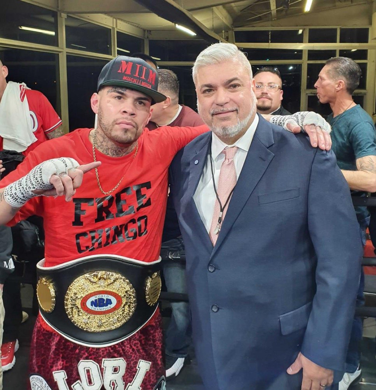Photo: MARVIN CORDOVA JR., left, captured the vacant NBA World Super Middleweight Title on Saturday with a knockout win over Hector Velazquez in his hometown of Pueblo, Colorado. The fight was Cordova Jr.'s first in three years and just his second in the last decade. The former amateur standout is now a three-time title-holder looking to add a world title to his resume in 2020 under the promotional guidance of CES Boxing, whom he signed with in 2019.