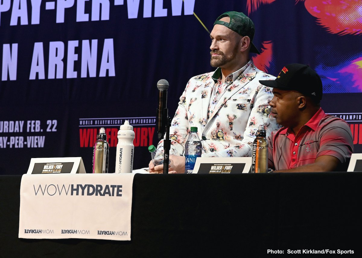 """Sugar Hill Steward, Tyson Fury - Few people, if any at all, believed Tyson Fury when he said at this week's L.A Wilder/Fury II presser that he is going to """"stand in mid-ring and slug it out with Wilder,"""" and """"100 percent get a second-round KO win."""" After all, Fury, a great taker who ALWAYS tries to get into the head of his rival, has spoken this way before; only for him to use his boxing skills and use his brains, not his brawn, in the ring."""
