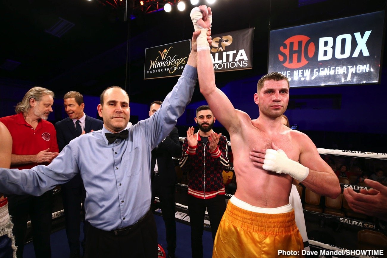 "Oscar Riosjas, Vladimir Shishkin - Tonight, in the 10-round main event of ""DETROIT BRAWL AT THE LEGENDARY KRONK,"" undefeated top-10 super middleweight Vladimir Shishkin (11-0, 6 KOs) dominated and stopped tough Mexican veteran Oscar ""El Monstruo"" Riojas (21-14-1, 10 KOs) in round nine."