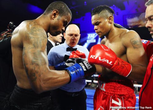 """Eleider Alvarez, Michael Seals -  Former light heavyweight world champion Eleider """"Storm"""" Alvarez scored a devastating seventh-round knockout over Michael """"Cannon Hands"""" Seals from a quick, hard overhand right that Seals was unable to get up from, and referee Danny Schiavone stopped the bout, as he reached the count of eight with Seals still on the canvas, just as the round ended. With the victory, Alvarez obtained the vacant WBC Continental Americas and WBO Intercontinental light heavyweight titles."""