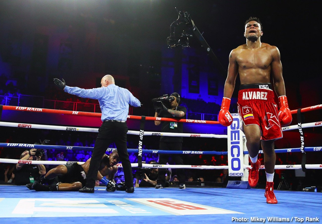 "Eleider Alvarez -  Former light heavyweight world champion Eleider ""Storm"" Alvarez scored a devastating seventh-round knockout over Michael ""Cannon Hands"" Seals from a quick, hard overhand right that Seals was unable to get up from, and referee Danny Schiavone stopped the bout, as he reached the count of eight with Seals still on the canvas, just as the round ended. With the victory, Alvarez obtained the vacant WBC Continental Americas and WBO Intercontinental light heavyweight titles."