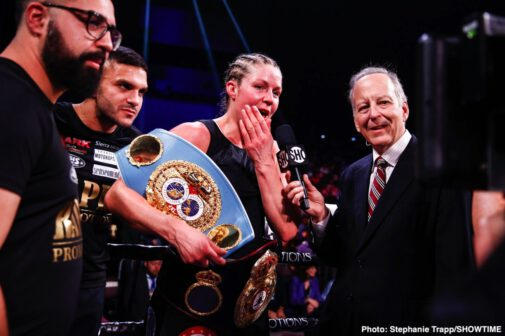 Claressa Shields, Ivana Habazin - Claressa Shields made history yet again by claiming the WBC and WBO 154-pound world championships with a dominating unanimous decision over Ivana Habazin Friday on SHOWTIME from Ocean Casino Resort in Atlantic City.