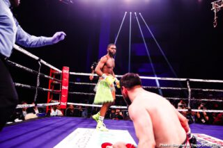 Bakhtiyar Eyubov - Jaron Ennis scored his 15th consecutive knockout with a dominating fourth round TKO over the durable Bakhtiyar Eyubov.