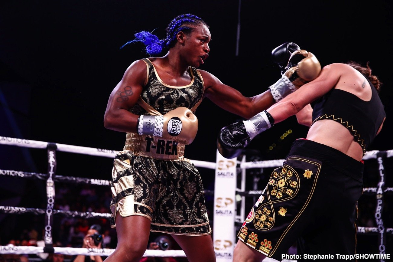 Claressa Shields, Ivana Habazin - Boxing history was made last night in Atlantic City, New Jersey, just as Claressa Shields said it would be made. Shields, in an amazing accomplishment, became with her wide decision win over Ivana Habazin, a three-weight world champion after just ten pro fights. In so doing, Shields, 10-0(2) broke the record previously held by Vasyl Lomachenko and Kosei Tanaka, both of whom became a three-weight champ after 12 bouts.