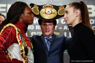 Bakhtiyar Eyubov - Undisputed middleweight world champion Claressa Shields and former welterweight champion Ivana Habazin met face-to-face Tuesday at the final press conference three days before their long-awaited showdown for the vacant WBC and WBO 154-pound world titles this Friday, January 10 live on SHOWTIME from Ocean Casino Resort in Atlantic City, N.J.
