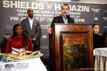 Alicia Napoleon-Espinosa, Bakhtiyar Eyubov, Claressa Shields, Elin Cederroos, Ivana Habazin, Jaron Ennis - Undisputed middleweight world champion Claressa Shields and former welterweight champion Ivana Habazin met face-to-face Tuesday at the final press conference three days before their long-awaited showdown for the vacant WBC and WBO 154-pound world titles this Friday, January 10 live on SHOWTIME from Ocean Casino Resort in Atlantic City, N.J.