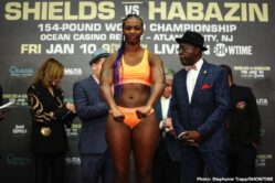 Claressa Shields, Ivana Habazin - Claressa Shields vs. Ivana Habazin final weighs, quotes, photos and commission officials for unified 154 pound world championship on Friday. LIVE on Showtime from the Ocean Casino Resort.