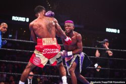 """Chris Colbert, Jeison Rosario, Jezreel Corrales, Julian Williams - Jeison Rosario captured the WBA and IBF Super Welterweight World titles with a shocking fifth round stoppage of hometown favorite Julian """"J-Rock"""" Williams Saturday night in the FOX PBC Fight Night main event and on FOX Deportes from Temple University's Liacouras Center in Philadelphia."""