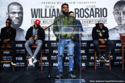"Chris Colbert, Erik Spring, Jeison Rosario, Jezreel Corrales, Joey Spencer, Julian Williams - Unified 154-pound champion Julian ""J-Rock"" Williams went face-to-face with hard-hitting contender Jeison Rosario Thursday at the final press conference before Williams makes his homecoming title defense this Saturday, January 18 in the FOX PBC Fight Night main event and on FOX Deportes from Temple University's Liacouras Center in Philadelphia."