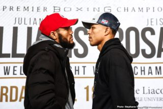"Jezreel Corrales - Unified 154-pound champion Julian ""J-Rock"" Williams went face-to-face with hard-hitting contender Jeison Rosario Thursday at the final press conference before Williams makes his homecoming title defense this Saturday, January 18 in the FOX PBC Fight Night main event and on FOX Deportes from Temple University's Liacouras Center in Philadelphia."