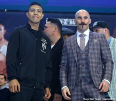 "Gary ""Spike"" O'Sullivan, Jaime Munguia, Oscar De La Hoya - Jaime Munguia (34-0, 27 KOs) and Gary O'Sullivan (30-3, 21 KOs) hosted their final press conference today at The Alamodome ahead of their 12-round fight for the WBO International Middleweight Title. The event will take place Saturday, Jan. 11 at The Alamodome in San Antonio, Texas and will be streamed live on DAZN."