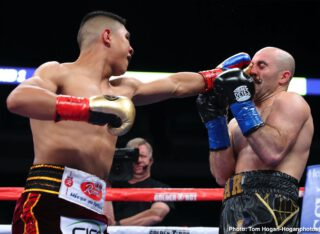 """Gary O'Sullivan - Jaime Munguia (35-0, 28 KOs) made a successful 160-pound debut by defeating Gary """"Spike"""" O'Sullivan (30-4, 21 KOs) via 11th-round stoppage to capture the WBO Intercontinental Middleweight Title at The Alamodome in San Antonio, TX. The event was streamed live exclusively on DAZN."""