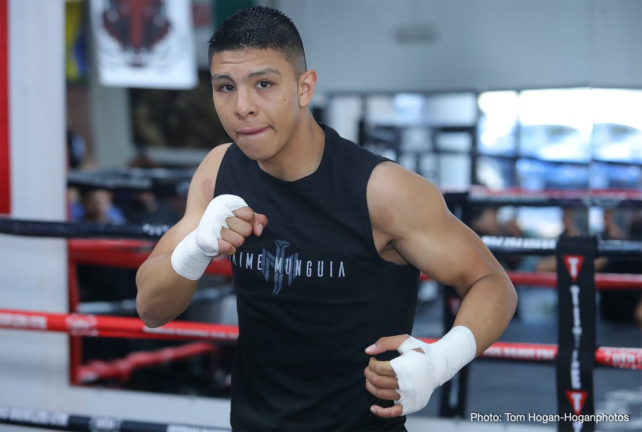 "Golden Boy Promotions - One of the most excitingly promising young fighters out there today, Mexican warrior Jaime Munguia, already a WBO champ at 154 pounds, feels he can become middleweight king. The 23 year old has his 160 pound debut on Saturday night, against a dangerous and motivated Gary ""Spike"" O'Sullivan, and Munguia, 34-0(27) says he feels stronger and far more comfortable as a middleweight."
