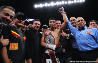 """Gary O'Sullivan - Oscar De La Hoya is excited at what he saw from Jaime Munguia (35-0, 28 KOs) with his 11th round technical knockout win over war-horse Gary """"Spike"""" O'Sullivan (30-4, 21 KOs) last Saturday night in his debut. The fight took place at The Alamodome in San Antonio, Texas. It was streamed LIVE on DAZN."""