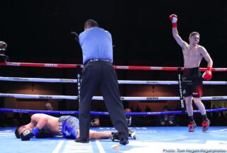 Ferdinand Kerobyan - Irish contender Jason Quigley (18-1, 14 KOs) made quick work of Fernando Marin (16-5-3, 12 KOs) by defeating him via knockout in the third round of a 10-round super middleweight battle in the main event of Golden Boy and DAZN's Thursday Night Fights at the Hangar at the OC Fair & Event Center in Costa Mesa, Calif. Quigley ended matters with a time of 1:47 of the aforementioned round. The event was streamed live on DAZN, RingTV.com and on Facebook Watch via the Golden Boy Fight Night Page.