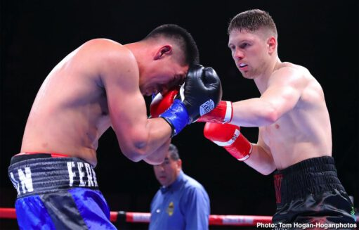 Ferdinand Kerobyan, Jason Quigley - Irish contender Jason Quigley (18-1, 14 KOs) made quick work of Fernando Marin (16-5-3, 12 KOs) by defeating him via knockout in the third round of a 10-round super middleweight battle in the main event of Golden Boy and DAZN's Thursday Night Fights at the Hangar at the OC Fair & Event Center in Costa Mesa, Calif. Quigley ended matters with a time of 1:47 of the aforementioned round. The event was streamed live on DAZN, RingTV.com and on Facebook Watch via the Golden Boy Fight Night Page.