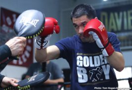 """Gary O'Sullivan, Jaime Munguia - Gary """"Spike"""" O'Sullivan (30-3, 21 KOs) hosted a media workout today at Boxers and Brawlers Boxing Club ahead of his 12-round middleweight fight against Jaime Munguia (34-0, 27 KOs) at The Alamodome. The event will take place Saturday, Jan. 11 at The Alamodome in San Antonio, TX and will be streamed live exclusively on DAZN."""
