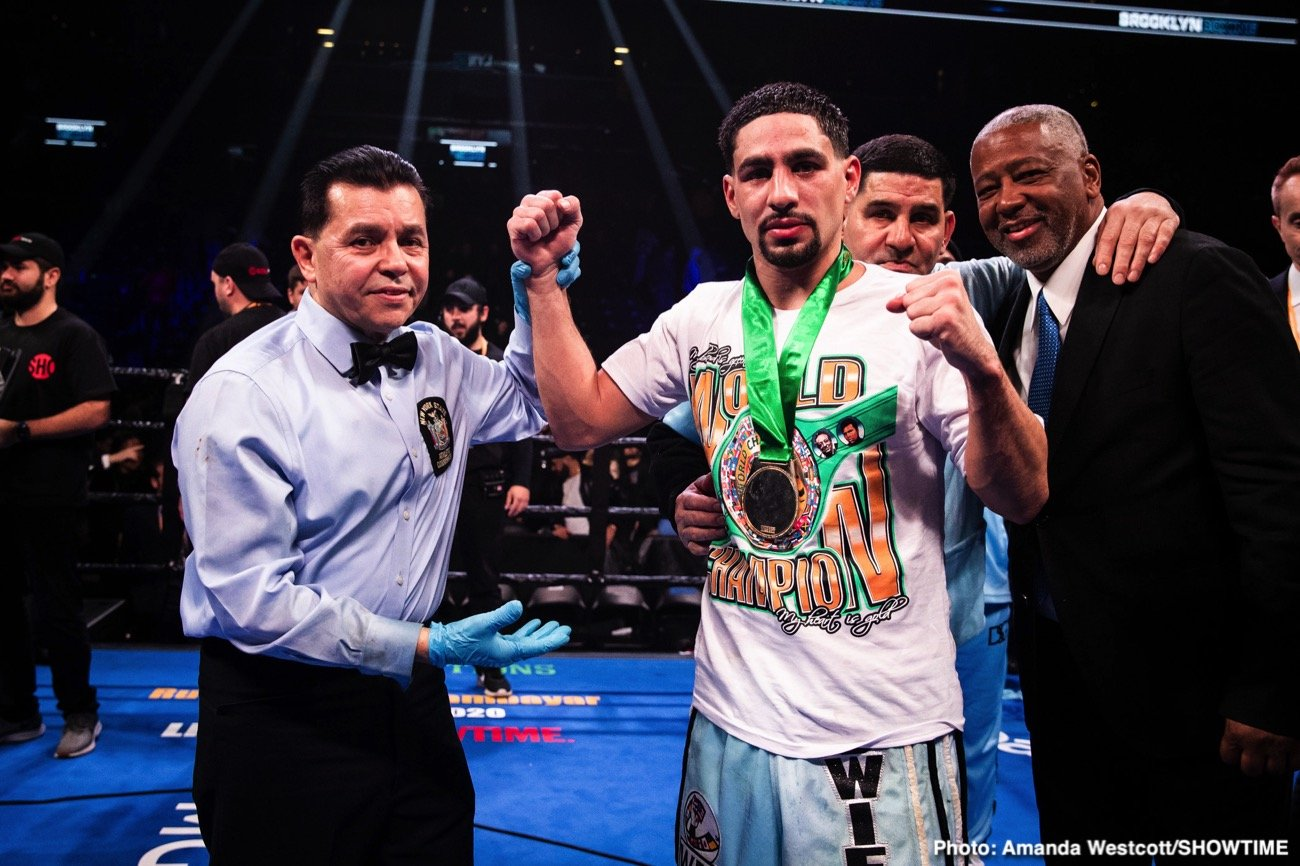 "Danny Garcia - Former two-weight champ Danny Garcia is buzzing over his next fight. ""Swift,"" who took to social media yesterday (picked up by Fight Hub), says in the short video how he will be back in the ring in September and that his opponent will be either Manny Pacquiao or Errol Spence."