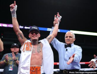 """Gary O'Sullivan, Jaime Munguia - Jaime Munguia (35-0, 28 KOs) had his coming out party on Saturday night in defeating a very tough Gary """"Spike"""" O'Sullivan (30-4, 21 KOs) by an 11th round TKO in an exciting WAR at The Alamodome in San Antonio, Texas."""