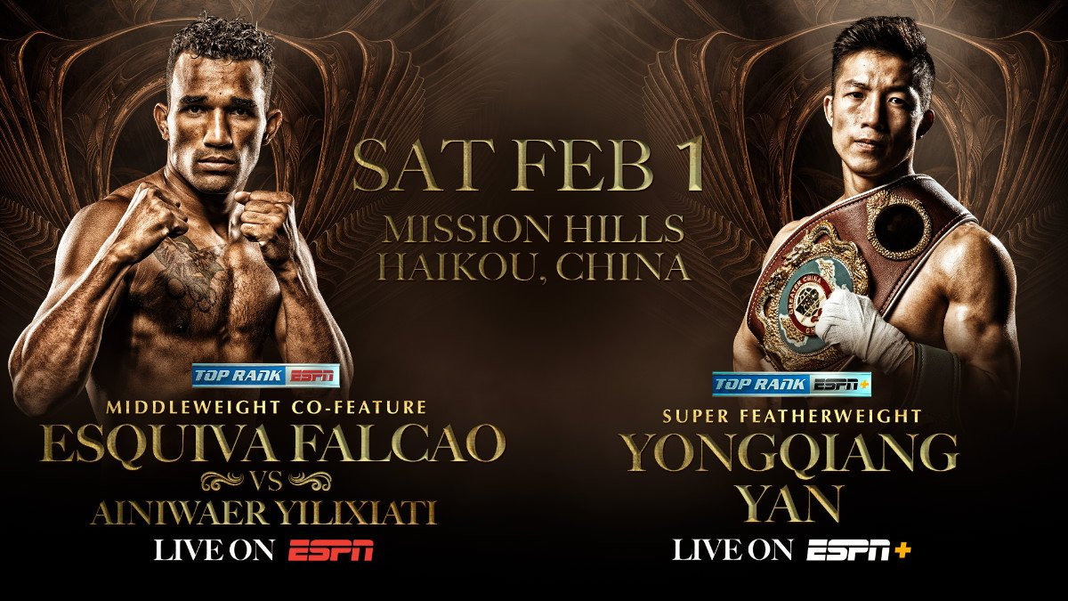 Undefeated Brazilian middleweight contender Esquiva Falcao will look to turn back Chinese contender Ainiwaer Yilixiati in a 10-round middleweight fight Saturday, Feb. 1 at Mission Hills Haikou in Haikou, Hainan, China. Falcao- Yilixiati will serve as the co-feature to the highly anticipated bout between WBC/WBO junior welterweight world champion Jose Ramirez and former world champion Viktor Postol (ESPN, 10 p.m. ET/7 p.m. PT).