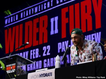 "Deontay Wilder, ESPN pay-per-view, Fox Sports Pay-Per-View, Tyson Fury - Unbeaten WBC Heavyweight World Champion Deontay ""The Bronze Bomber"" Wilder and undefeated lineal champion Tyson ""The Gypsy King"" Fury continued their war of words and previewed their much anticipated rematch at a Los Angeles press conference on Monday before they square off Saturday, February 22 in a historic, joint FOX Sports PPV & ESPN+ PPV from the MGM Grand Garden Arena in Las Vegas."