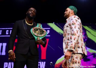 """ESPN pay-per-view - Unbeaten WBC Heavyweight World Champion Deontay """"The Bronze Bomber"""" Wilder and undefeated lineal champion Tyson """"The Gypsy King"""" Fury continued their war of words and previewed their much anticipated rematch at a Los Angeles press conference on Monday before they square off Saturday, February 22 in a historic, joint FOX Sports PPV & ESPN+ PPV from the MGM Grand Garden Arena in Las Vegas."""