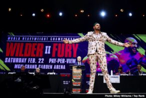 """Deontay Wilder, ESPN pay-per-view, Fox Sports Pay-Per-View, Tyson Fury - Unbeaten WBC Heavyweight World Champion Deontay """"The Bronze Bomber"""" Wilder and undefeated lineal champion Tyson """"The Gypsy King"""" Fury continued their war of words and previewed their much anticipated rematch at a Los Angeles press conference on Monday before they square off Saturday, February 22 in a historic, joint FOX Sports PPV & ESPN+ PPV from the MGM Grand Garden Arena in Las Vegas."""
